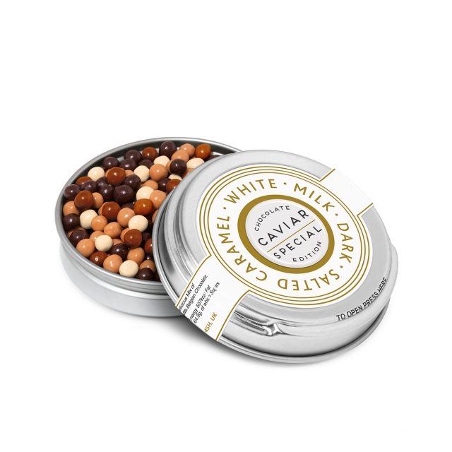 Winter Collection – Caviar Tin – Chocolate Pearls – Silver